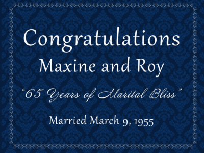 Maxine and Roy 65th Anniversary Event 2020